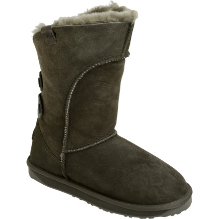 A slightly lower cuff and scalloped back make the EMU Alba Boot easier to wear with jeans, and you can even fold down the front to show off the fleece inside. Leather strap details on the back add a bit of extra style. As always, premium Australian sheepskin keeps you warm and dry and feeling like you have your house slippers with you all the time. - $161.06