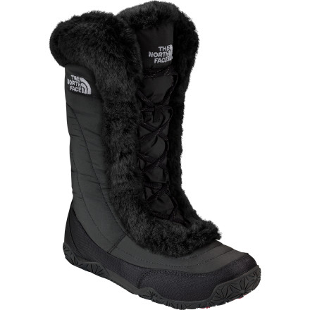 The North Face's Nuptse Fur IV Boot might look like a fancy fashion accessory, but with its 600-fill down insulation, DWR weather protection, and WinterGrip rubber outsole, this boot definitely packs in plenty of function with all that style. - $71.97