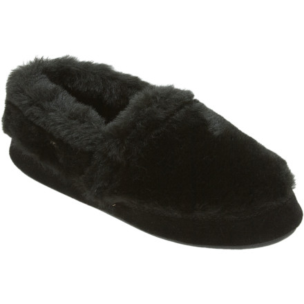 Entertainment Youll be deliriously comfortable once you slip your feet into the furry Acorn Womens Tex Moc Slipper. This cozy slip-on features a thick, textured upper with a soft fleece lining to help you fully relax. The Acorn memory foam and EVA midsole provide cloud-like cushioning, and the weatherproof outsole can handle a walk out to get the paper or water the garden. - $19.98