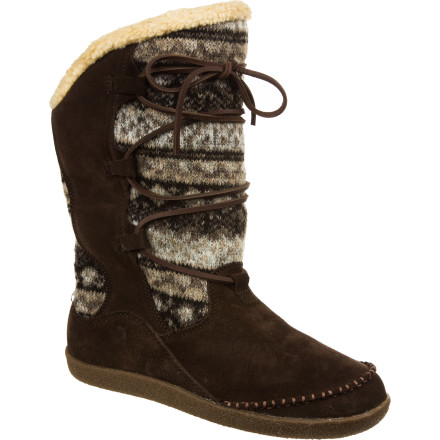 Entertainment Slide your chilly feet into the inviting Acorn Women's Crosslander Boots and feel the comfort and warmth of soft Sherpa fleece lining and Thermolite insulation. The rubber outsoles mean you can stroll right through your house and down the street, and the appealing designs invoke images of roasting marshmallows or sipping hot chocolate by the fire. - $74.97