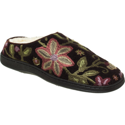 Entertainment A beauty to behold, the delightfully embroidered Acorn Women's Talara Mule Slipper will keep your foot warm and toasty and put a smile on your face. Boiled wool and Sherpa-fleece lining provide the warmth, and cushy memory-foam and EVA midsole and supportive heel and arch give you the joy of comfort. Its non-slip, weatherproof sole, share the podiatric joy with the neighborhood. - $37.46