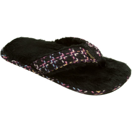 Entertainment Slipping into the Reef Women's Snowbird Slipper after along day in the frigid swells is like sinking into piping-hot mineral springs after a day of swimming with the polar bears. The faux shearling liner warms your chilled peds while the anatomical arch support gives you comfort you need for your beach-side bonfire. - $16.47