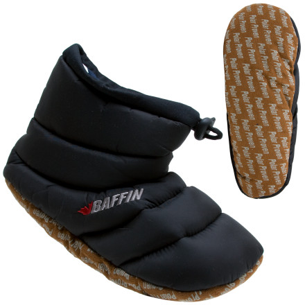 Camp and Hike The Baffin Womens Cush Booty Slipper indulges your feet with thick quilted warmth, with slip-resistant soles for inside the house or tent. The Cush Booty Slippers higher top provides extra plush comfort, and a lockable tie holds your foot securely in place. - $17.37