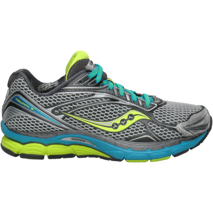 Fitness Saucony changes things up with their redesigned Women's Powergrid Triumph 9 Running Shoe. Already known for its plush feel, the Triumph now has an 8mm heel-to-toe differential that gives you a more efficient mid-foot strike. It also has a roomier toebox and is roughly 1.5 ounces lighter than previous models. - $84.47