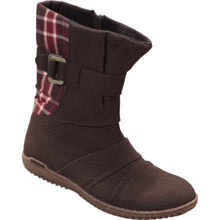 Camp and Hike Patagonia designed the Women's Kula Buckle Boot for comfortable kickin' around camp or kickin' around town. The tough microfiber upper protects your foot but stays soft and supple to keep you comfortable, and the styling works perfectly with dresses and leggings. - $84.00