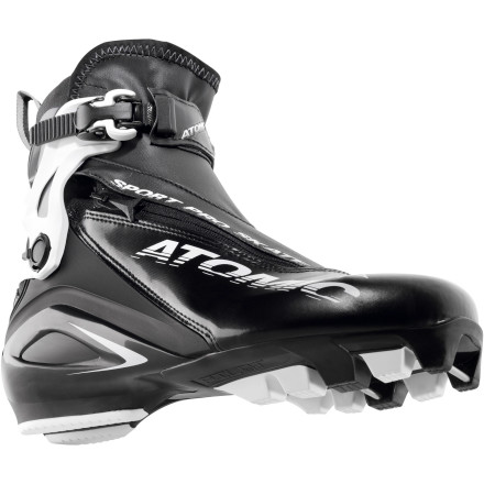 Ski You skate ski for the joy of it. You enjoy opening it up on the straightaways and you get your heart racing to work up a sweat, but you're not one to punish yourself by entering every race in town. You choose your gear to match your passion, and when you're looking at a new boot, the Atomic Sport Pro Skate Boot should come to mind. This boot is an ideal balance of performance features trickled down from Atomic's line of WorldCup boots and comfort features borrowed from the Sport series. At 620 grams, the Sport Pro boot is just 11 grams heavier than the race-bred WorldCup Skate Boot and 10 grams heavier than the Sport Skate Boot. Although similar in name, the Sport Pro differs from the Sport Skate due to its narrower fit, ratcheting cuff adjustment, and canting system. Both the fit and cuff adjustment are features that the Sport Pro shares with the WorldCup, but the canting system puts the Pro boot in a class of its own. No other Atomic Nordic boot (race or otherwise) allows you to adjust the angle of your boot cuff to match the natural angle of your ankle through a cant adjustment. That's just another nod to this boot for delivering where it counts when it comes to fit customization and comfort. - $149.47