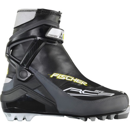 Ski You're just starting out in the world of skate skiing, but you have ambitions and dreams of improving your technique fast. The Fischer RC3 Skate Boot delivers just the right amount of stiffness so you won't feel held back by your boot, and just the right amount of comfort to keep you on your feet all morning. This boot is capable of moving fast on the groomed track, but it isn't a podium-chaser by default. Fischer makes three higher-end boots for that (the race RC7 and RCS Carbonline, and the high-performance RC5 Skate). Although the RC3 does share some traits with RC5, like a Race Fit, Flex Cuff, and Thermo Fit, the RC3 features a fleece-lined toe for warmth and comfort and a sole with a softer flex that's kinder to your foot and more forgiving. The RC3's rigid external ankle cuff and the massive power strap around the ankle drive your power directly into your ski, in the same way the race-bred boots do. This provides the stability and responsiveness you need to not only improving your skating but also to feel confident skating hard when you're ready. The tall inner cuff, thermomoldable fit, and additional heel-fit adjustment boost ankle stability and help perfect the fit to your feet. If you're coming from the world of classic skiing, you should realize that this boot will feel significantly stiffer than the boots you're used to. - $125.97