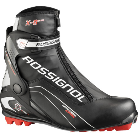 Ski For those of us that aren't skate skiing for medals and glory, race-oriented rigidity isn't worth the sacrifice to comfort. So, if you're more inclined to squeeze in some hot laps before work, or get out with your family on the weekends, Rossignol created its X8 Skate Boot for you. This boot provides the necessary levels of stiffness required for a direct power transfer, but not so much that your foot feels berated at the end of the day. So, if you haven't guessed yet, comfort is paramount for the X8. And along these lines, Rossignol incorporated many of the key features from its X10 and even X-ium series. You receive the same mobile cuff system for fore and aft movements, a speed lace lock for rapid closure and a precise fit, and even a thermo-moldable upper for a customizable volume and fit. In fact, feature for feature, the similarities outweigh the differences between the X10 and X8 boots. We found the main difference to be the substitution of Rossignol's Micrometric ratcheting ankle closure for the X8's Velcro closure. However, the lack of hardware does shave the X8's weight to around 30 grams less per boot than the X10. This design also provides a more natural, less-constrictive movement for a simplified kick motion. - $125.97
