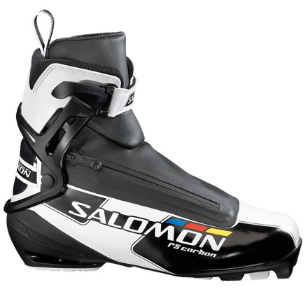 Ski You might not be able to buy results, but racing in the Salomon RS Carbon Skate Boot definitely won't hurt your podium potential. With a host of trickle-down technology from Salomon's venerable S-Lab skate series, the RS Carbon strikes an equilibrium between comfort and power. To achieve this, the boot uses the S-Lab's hallmark comfort traits like the 3D Energyzer cuff, Quicklace lacing system, Sensifit overlap construction, and heat moldable customization. Together, these engineering features create race-day levels of lateral ankle support, a complete enveloping interface between the foot and the boot, and a precise fore and aft positioning that reduces leg and ankle fatigue. And, while these attributes directly equate to comfort, the RS Carbon's SNS Pilot 2 Carbon Pro outsole and Carbon Skating Plate chassis deliver the speed. This carbon fiber pairing provides one of Salomon's most efficient transfers of power, while the Energyzer cuff's spring retention lifts the ski in order to minimize tip drag and to accelerate ski return. And perhaps most surprisingly, the RS Carbon matches the S-Lab's weight of 1200 grams per pair. Name a performance platform, and the RS Carbon delivers on it. - $179.97