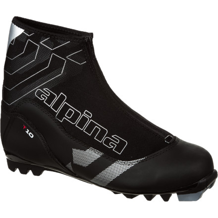Ski Whether you're starting down your favorite trail or heading into the woods to make a path of your own, count on the Alpina T10 Touring Boot to keep your foot warm and comfortable from first kick to final stride. Thinsulate insulation provides ample warmth for chilly days, and the zippered lace cover prevents snow from sneaking in through the Speed Lacing system. - $63.75