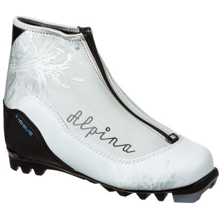 Ski When it's time to break free of winter-weather doldrums and get your endorphin fix, lace up the Women's Alpina T10 Eve Touring Boot. The women-specific last precisely wraps around your foot for a snug fit while Thinsulate insulation keeps your toes toasty warm. A zippered lace cover keeps snow from getting in through the Speed Lacing system when you venture off the beaten path and into soft snow. - $63.75