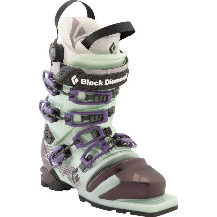 Ski Built with a host of women-specific features and rocking a buttery smooth flex, Black Diamond designed the Womens Stiletto Telemark Ski Boot to stand alone at the top of its tele boot line. Constructed with long approaches, big ascents, and technical terrain in mind, the Stiletto excels at driving both mid-fat and powder skis in bounds and out. - $362.45