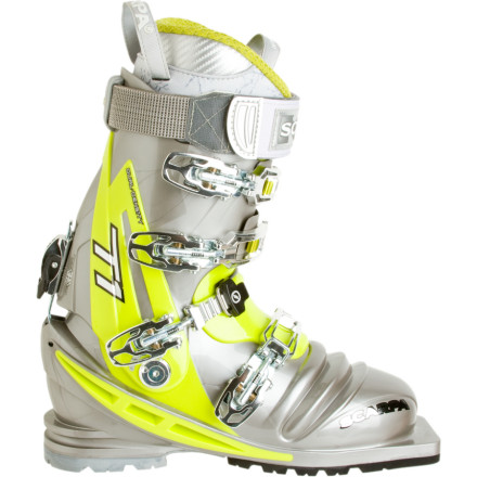 Ski The Scarpa T1 Lady Telemark Ski Boot isn't just a smaller, toned-down version of a men's tele boot. It's a hard-charging, high-performance boot for the advanced female telemarker, and its female-specific fit promises cushy comfort even after a full day in the backcountry. - $698.95