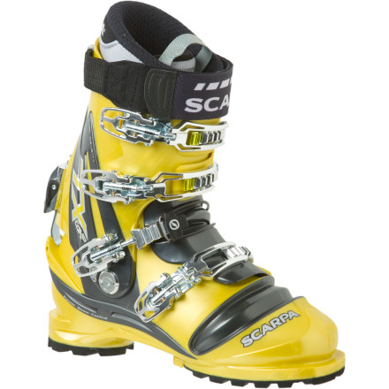 Ski Wide, stiff, and powerful, the TX Comp Telemark Boot carves out it's position as Scarpa's new on-piste, NTN-compatible dominator. Armed to the nines with an Intuition Liner, Pebax shell, Vibram sole, and a burly Active power strap, this boot has garnered awards throughout the industry. Need all the power you can handle for your knee-dropping debauchery' Look towards the TX Comp Boot. - $698.95