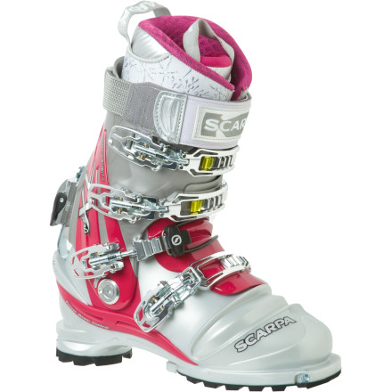 Ski Powerful, but still comfortable enough for all-day knee-dropping sessions, the Scarpa Women's Terminator X Pro Boot brings both NTN and TLT binding compatibility to your winter life. Scarpa outfitted this boot to the nines with the highest-quality features including an Intuition Liner, Vibram sole, and Pebax shell. In order to dial this boot just for the ladies, this boot's Intuition liner was designed to specifically accommodate a female ripper's lower calf shape and alignment. - $698.95