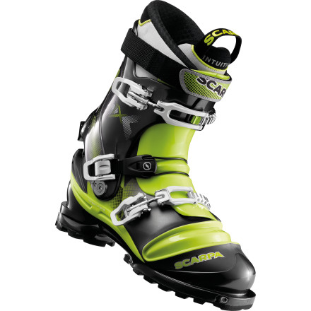 Ski Take the duckbill boots and cable bindings to the swap; the Scarpa Terminator X Telemark Boot is the new boss in the backcountry. Compatible with NTN and TLT binding setups, the Terminator gives you the choice of riding with a free or fixed heel. The 100% Pebax shell keeps the weight down for long tours, and the Intuition Performance Flex G liner provides a precise out-of-the-box  fit. - $668.95