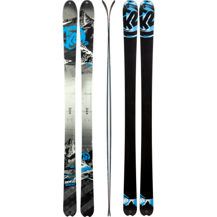 Ski Take a hard line with the K2 SideShow Ski. Many in the Western US will look at this ski as a high-performance touring or AT ski, and many in the Eastern US will treat this stick as an all-mountain crusher. A moderate waist lets you lay trenches in the hard stuff, metal laminate construction means stability and powerful edging, and All-Terrain Rocker lifts the tip and tail to help you ride high on powder days. The SideShow ski is equally capable ripping bulletproof groomers, muscling through corn snow in the sidecountry, or floating on mixed-density powder found just off the skin track. - $487.46