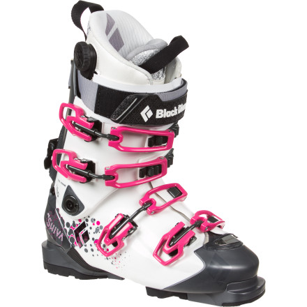 Ski Sporting a forgiving flex and featuring a variety of women-specific design features, the Black Diamond Womens Shiva Alpine Touring Boot is your passport to serious freeride performance. Far from a dumbed-down version of a mens touring boot, Black Diamond made the Shiva for discerning rippers who slay jaw-dropping lines both in bounds and out. - $419.40