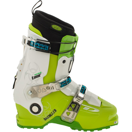 Ski With a little help from the ever-forward-thinking eyes of one of skiing's resident badasses, Glen Plake, Dalbello is proud to present the Men's Virus Tour Ski Boot. Developed with a similar set of features as DalBello's award-winning Krypton series, the lightweight Virus Tour incorporates the Carbio three-piece shell architecture which permits the cuff and external tongue to move more smoothly and consistently. The two-piece tongue lengthens your strides when in walk mode, and the legendary Dalbello Italian fit delivers a performance-enhancing 100mm last and a Dynalink rear-foot retention system for the best lockdown facility this side of county. - $412.47