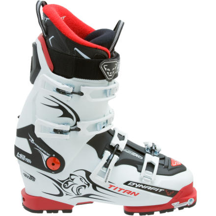 Ski On the skin up, you want your boot to be superlight. Feather-light. Half-a-feather-light. On the way down, you want bomber stiffness and support. Welcome to the Dynafit Titan TF-X Ski Boot. - $524.97