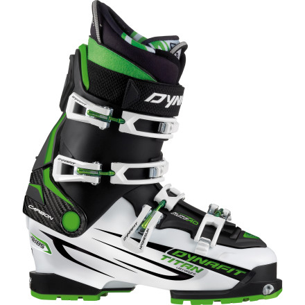 Ski On the skin up, you want your boot to be superlight. Feather-light. Half-a-feather-light. On the way down, you want bomber stiffness and support. Welcome to the Dynafit Ultralight Titan TF-X Ski Boot. - $608.97