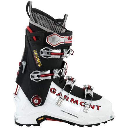 Ski The Garmont Cosmos Alpine Touring Boot brings the lightweight demands of ski mountaineers into harmony with uncompromising downhill performance. The simple and efficient Bomber Walk mechanism provides two different forward lean angles and allows the boot to freely flex in walk mode for comfortable touring on the way up. When you reach the summit, tighten down the four Magnesium Lite buckles, select a forward lean for the terrain at hand, then point your tips and impose some orderly turns on your backcountry world. - $489.97