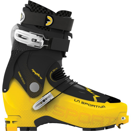 Ski At half the weight of a standard AT boot, the La Sportiva Spitfire Alpine Touring Boot is the go-to choice for seasoned ski-mountaineers and touring freeriders who know that speed and efficiency are critical to safety in the mountains. The Spitfire's carbon-fiber-reinforced 'exoskeleton' offers precision and performance during the descent without the need for a stiff, heavy tongue. When the ascent gets rocky and technical, you'll appreciate the EX Flex tongue and the extra-hard edging platforms for secure footholds and the soft rubber under the forefoot and heel for shock absorption. - $674.21