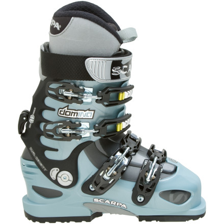 Ski Lock yourself into the Scarpa Womens Domina Alpine Touring Boot, and head out to plunder the endless backcountry powder stash. This hard-charging womens boot features a four-buckle design and V-frame power ribs on the cuff for driving hard down steep lines. The rear touring mechanism easily switches over for walking comfort. The Intuition Speed Pro Lady liner features an alpine fit with molding UltraIon foam for a truly custom feel. The Domina also comes with both a ski tongue and a walk tongue for maximum balance between touring comfort and downhill power. The Vibram Ride sole gives solid traction on rocky scrambles and approaches. - $349.48