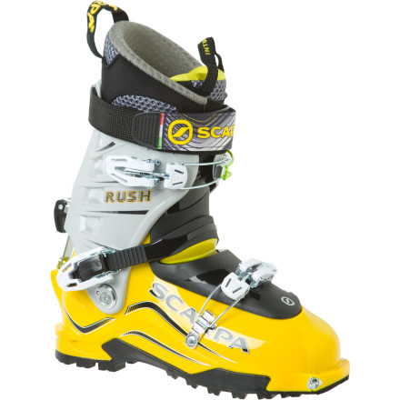 Ski Borrowing from the chassis of the Scarpa Maestrate Boot, the Scarpa Men's Rush Alpine Touring Boot shaves some weight from your feet without sacrificing your ability to maintain power or control in the backcountry. Quick-step fittings make it a breeze to get in and out of your TLT bindings when speed is of the essence, and the free-flexing range of motion cuff turns slogging tours into a walk in the park. Reach for this Pebax out-of-bounds boot when you finally decide to forgoe a season pass at the local resort, for early-morning peak-bagging all season. - $578.95
