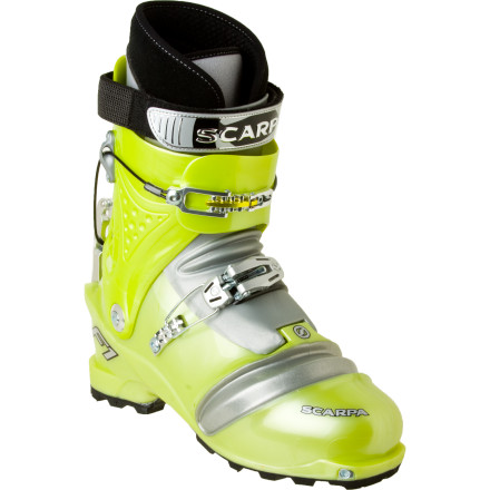 Ski For long tours or races when comfort and light weight are paramount, buckle up the Scarpa Men's F1 Alpine Touring Boot and rack up the vertical. Scarpa gave these touring boots ergonomic bellows which allow incredible flex for efficient skinning and walking. When you get to the top of the skin track, a quick flip of the refined ski/walk mechanism switches the boot into ski mode, while two buckles and a power strap lock your foot into place for downhill performance. Scarpa shaved all unnecessary features from the F1 Touring Boot's PlusFit Race liners, achieving astounding warmth-to-weight ratio. - $349.48