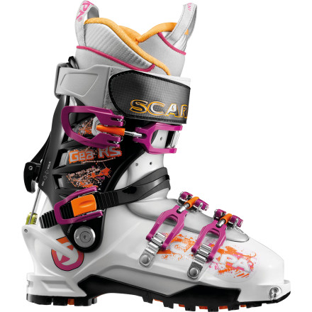 Ski All the ladies in the house say, 'Yea!' Take a gander at the Scarpa Women's Gea RS Alpine Touring Boot, a burly 120-flex, eco-friendly-constructed, Axial Alpine-designed ripping AT bootjust for you. Superlight, with generously wide walk mode and a women's Intuition liner, this boot will take you on a whirlwind tour of fast climbs and way faster descents. Huck yourself into pristine pow and bomb down skinny chutes; there's nothing to fear but an ill-fitting, noodley boot, and you don't have that. - $698.95