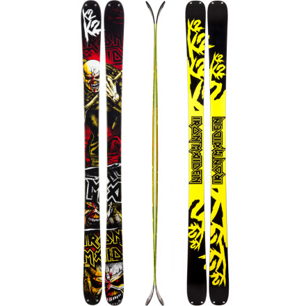 Ski On winter's snowy battlefield, the K2 Iron Maiden Ski beefs up your park, urban, and all-mountain freestyle weaponry. Now you can dominate the park with the dark gods of metal blasting through your skull and the album artwork staring you in the face. The Iron Maiden urges you to do something legendary on this solid, stiff park ski. All-Terrain Rocker lets you take the battle to the all parts of the mountain while its super-burly Absorb sidewall construction stands up to after-dark urban campaigns or handrail projects. - $412.46