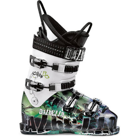 Ski If you look at the mountain and lick your lips like a pow-thirsty predator, then you and the Dalbello Scorpion SF 130 I.D. Ski Boot will get along fine. The burly sublimated overlap construction is intimidating enough to make anyone quake in their inferior boots, but the 130 flex will be the ultimate shut-down. A high-density thermoformable liner, strategically contoured fit system, and  anti-shock footboard mean you can attack in comfort, so you can smile as you shred everything in your path. - $489.97