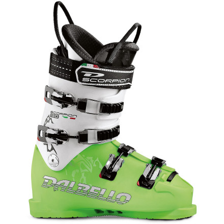 Ski Carve long, powerful arcs down smooth snow when you secure your foot in the rigid Dalbello Scorpion SR 130 Ski Boot and click into your quick stick. Classic two-piece overlap construction makes this four-buckle boot ready for your stupid-fast runs down the groomers with or without race gates. The Contour 4 Fit, heat-moldable liner, removable rear spoiler, and interchangeable Zeppa foot boards ensure a custom fit for maximum comfort and energy transfer. - $292.48