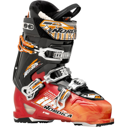 Ski The Nordica Hell and Back Hike Pro Ski Boot brings ultimate cosmic power to your in-bounds slaying or out-of-bounds ski-touring quests. Use the switch to release the cuff of this all-mountain boot so you can zip up the skintrack, then lock things down once you hit the summit and point it at a steep chute. Nordica gave this three-buckle boot a progressive and powerful but still somewhat forgiving flex-characteristic that allows you to hammer all morning without exploding your foot. - $524.21