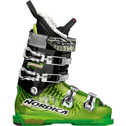 Ski Last year you were barely keeping up with your freeride posse, but now that you have the Nordica Men's Patron Ski Boots and some ski conditioning classes under your belt, you're ready to let loose. These moderately stiff boots feature a 98mm last, freeride shell design, and Full Shock Eraser that help you fine-tune your big-mountain riding skills and lead the charge. - $449.21