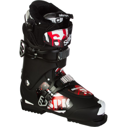 Ski Whether you like to frolic in the park, or prefer to roam the mountain in search of featuresor boththe Salomon SPK 100 Boot is the perfect playmate. Lean and mean, it features a relatively aggressive 100 flex, a low-profile shell, and  1/4ber-comfortable, impact-eating cushioning for hard landings. The thermomoldable liner with a snug quicklace closure and 104-millimeter last add to your cushy ride. It's hard to believe that all this fits in such a sleek shell. - $239.99