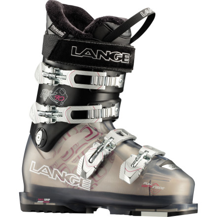 Ski Say hello to the Lange Women's Exclusive RX 90 Ski Boot and say goodbye to cramped toes, pinched calves, and frigid feet. Designed specifically to fit a lady's foot, the RX 90 has a Control Fit Liner, Thinsulate insulation, and a natural stance that delivers a precise, comfortable, and performance fit you can count on when you learn to master the bumps and move up from skiing the blues to blacks. - $349.97