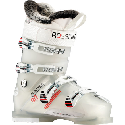 Ski The Electra Sensor3 90 Ski Boot from Rossignol uses a Sensor Fit liner to precisely wrap your forefoot for efficient transmission of energy to the ski while the Feminine Intuitive Technology accommodates a woman's narrower heel and lower calf. The Electra Sensor is charged up for fresh tracks and tree linesjust be careful not to shock anyone too badly. - $314.97
