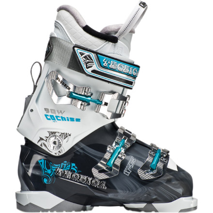 Ski The Women's Tecnica Cochise 90 Ski Boot is perfect for ladies who like a slightly softer flex when they make fresh turns in hidden slack country powder stashes. The Mobility Cuff is easily switched between hike and ski modes so trekking up the ridge to your favorite tree line is a breeze, and weaving your way back down is nothing but fresh powder bliss. The heat-moldable Ultra Fit liner provides a Women's specific fit and is nicely complemented by the Hinged Instep Catch that makes getting your boots on and off a cinch. - $399.95
