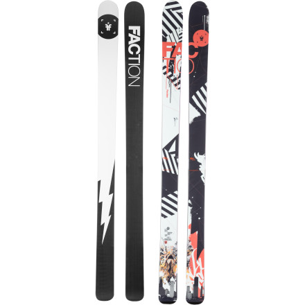 Ski Available only in a 194cm length, the Faction Thirteen Ski is big, stiff, and built to run at top speed. The 10mm of rocker in the tip devours variable snow conditions while the Full-Nelson wood core provides ample stability for stomping cliffs and straight-lining out of big sweeping bowls. If you don't mind leaving your crew behind in a cold smoke cloud run after run, thirteen just might be your lucky number. - $551.82