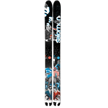 Ski Salomon's 127mm-underfoot, pow-hungry Rocker Ski is back for its third season--evidence that its big early-rise rocker tip and flat tail shape has gone from pioneer, to icon. Not for the weak or those seeking an all-mountain single-ski quiver, the Rocker is big, straight, stiff, and - you guessed it - massively rockered at the tip. Mind-blowingly nimble and slarvy in steep, untouched pow, the Rocker gets more agile the faster you go, while the swallowtail cutout acts like a rudder to keep you stable at speed (and virtually guarantees you won't try skiing switch). The Rocker is the only friend you need on a pow day. - $399.98