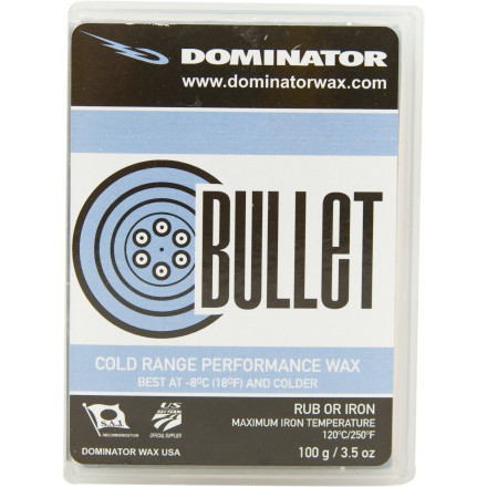 Ski When the snow temperature is below 14 degrees fahrenheit, reach for a coffee with Irish whiskey and a package of Dominator Sport Bullet Cold Snow Wax. The Sport Bullet has the same effect on your skis that the coffee has on you. - $12.58