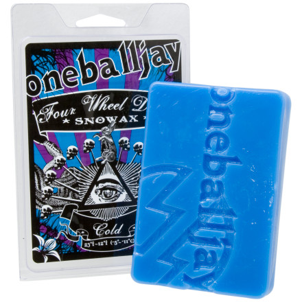 Ski Tune your snowboard with One Ball Jay's 4WD Snowax and kill it on any snow condition. 4WD is One Ball Jay's most popular wax and we can see why. Its hydrocarbon blend is super-fast and inexpensive. With four choices to match any temperature, this One Ball Jay wax makes it easy to get your stick ready for the snow. - $4.84