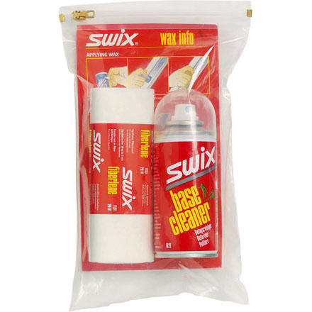 Ski Get a clean, smooth base, all with one little bag. The Swix Base Cleaner Set includes a can of spray-on base cleaner to loosen up all the collected gunk on the bottoms of your skis, and a roll of 20m Fiberlene fabric to wipe it all away. AVAILABLE FOR GROUND SHIPPING ONLY. - $19.96