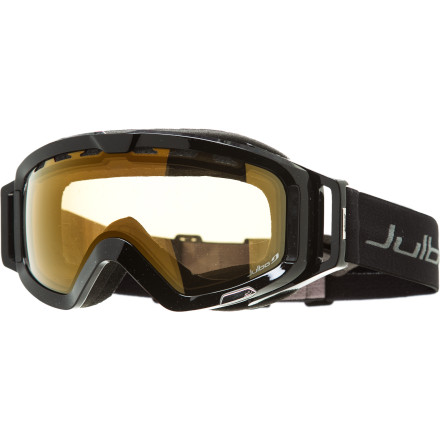 Ski Instead of wrestling with interchangeable lenses, put on the Julbo Orbiter Goggle with its Zebra Photochromic lens. The spherical anti-fog lens has the ability to adapt to changing light conditions, which provides optimized visibility at all times. - $107.97