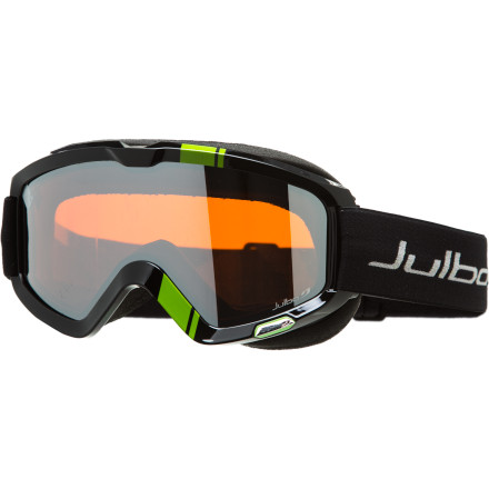 Ski The Julbo Bang Goggle has a big field of vision, is big on comfort, and is even bigger on style. The anatomic frame shape with dual-soft face foam has the ability to adapt to a wide range of face shapes for a perfect fit while the mirrored lens provides a huge field of vision. Plus, the bright color patterns are sure to please even the most style-conscious riders. - $62.97
