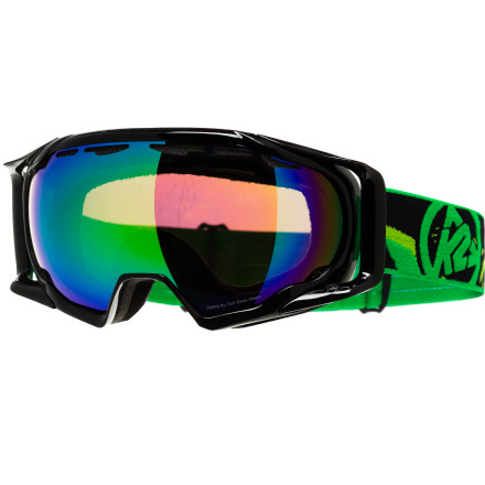 Ski The Photokinetic Goggle provides the high level of performance, quality, and style you'd expect from K2's fifty years of rich skiing heritage. An Ocular based frame design reduces the appearance of the frame in the rider's field of vision while the spherical mirrored lenses provide enhanced visibility in an array of light conditions. The Photokinetic is fully helmet-compatibile thanks to the special strap brackets and the straps are even lined with silicone for a non-slip grip on your helmet. - $110.00