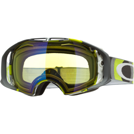 Ski The sun may have blinded your park landings in the past, but with the easily swappable lens of the Oakley Airbrake Goggle, you'll be able to stomp it all in any light. The glove-friendly, pivoting Switchlock Technology pops the lens out of the frame and lets you replace it with an included spare that better matches the mountain's conditions. Once you clamp down the built-in switch, you'll get that same undistorted, UV-blocking, and glare-busting Oakley vision for every bump, cat track, and landing that crosses your snowy war path. - $132.00