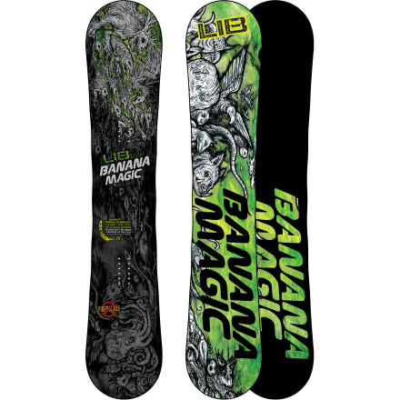 Snowboard The Lib Tech Banana Magic BTX Snowboard is the result of pairing true-twin geometry with a mid-stiff flex and then adding a whole bunch of next-levelness including Enhanced Banana rocker, Horsepower, and the volcanic pop of basalt fiberglass. - $418.17